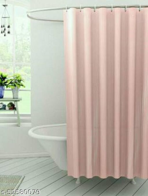 """CASA-NEST Stripe Design Waterproof Shower Curtain for Bathroom, 7 Feet PVC Curtain with 8 Hooks – 54""""x 84"""", Pink Color"""