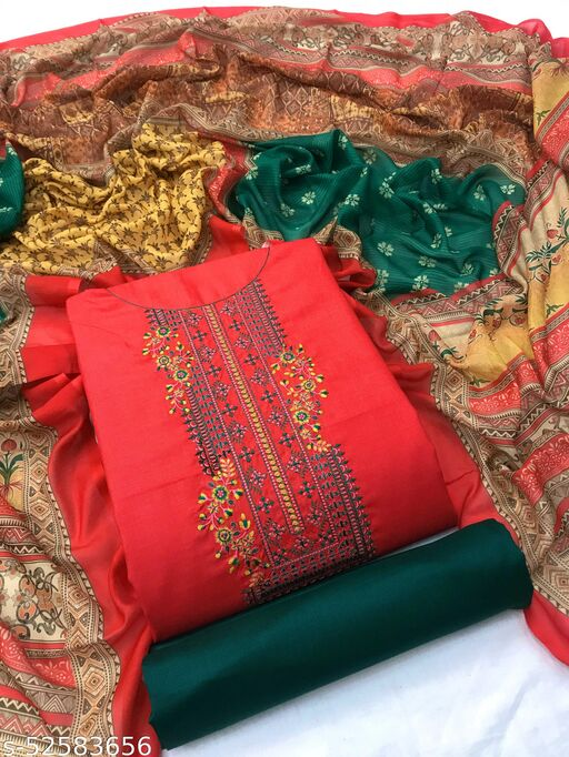 SheWill Red & Green Cotton Blend Embroidered Dress Material