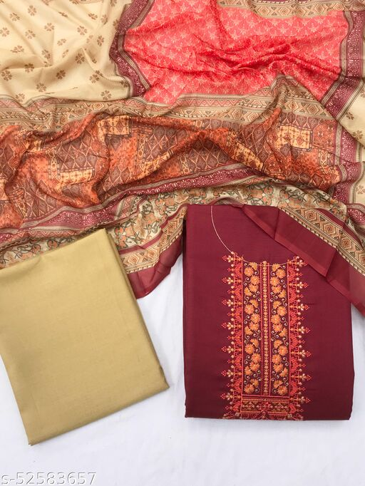 SheWill Maroon & Beige Cotton Blend Embroidered Dress Material