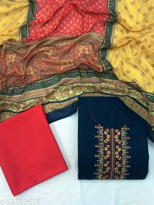SheWill Blue & Red Cotton Blend Embroidered Dress Material