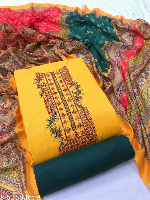 SheWill Mustard & Green Cotton Blend Embroidered Dress Material