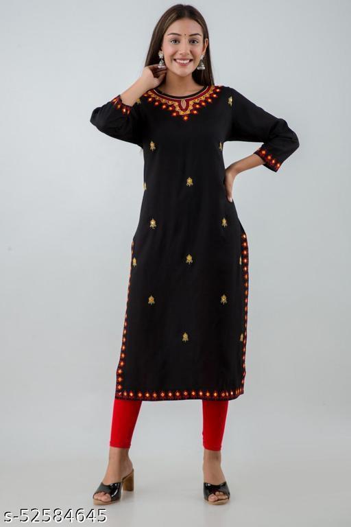 Women's Rayon Embroidered A-Line Kurta