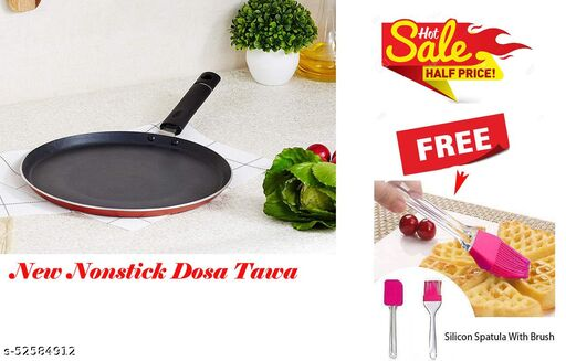 ARNAH TREASURE Offer NEW Special nonstick tawaa, Flat Base dosa Tawa, (3 Layered Coated) With FREE Silicone Spatula and Pastry Brush Set Special for Cake Mixer,Grilling ( Dosa Tawa+ Spatula & Brush)