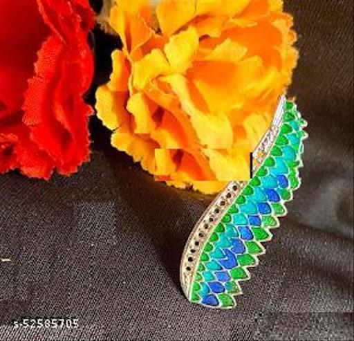 Klenot Leaf Design Meenakari Long Ring