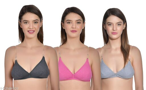 AIMLY Women's Cotton Non-Padded Non-Wired Low Coverage Trasparent Multiway Strap Regular Bra (Pack of 3)
