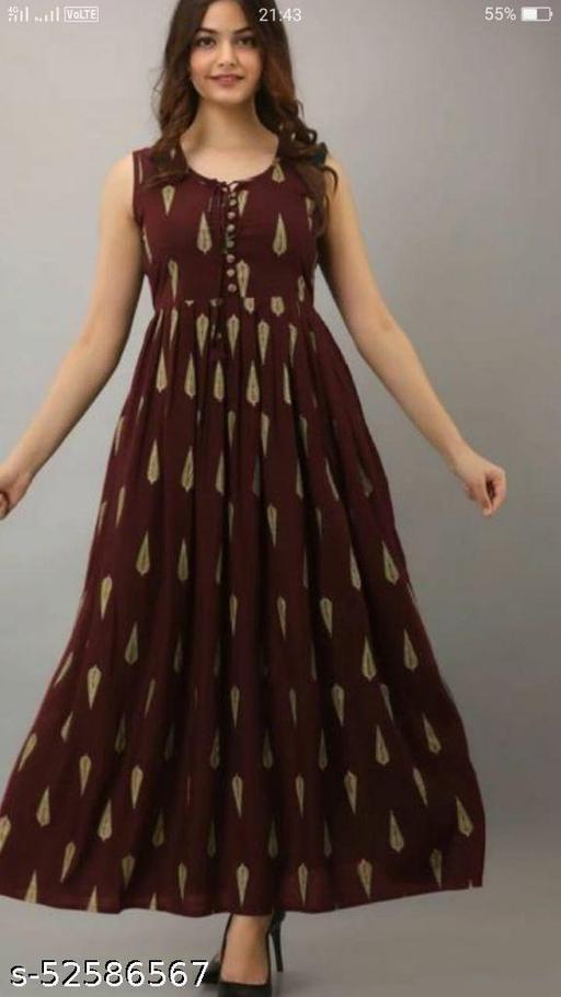 Women Rayon Printed Maroon Kurti Cum Gown