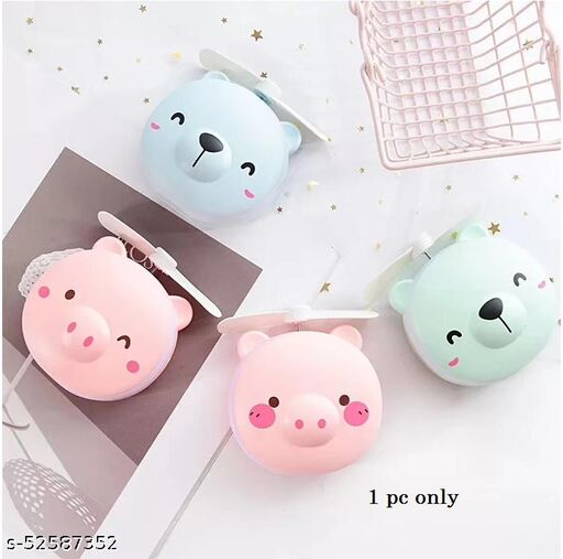 Makeup Mirrors Portable Led Cartoon Pig Fill Light Makeup Mirror Fan Bright Adjustable USB Charging Handheld Mini Fan