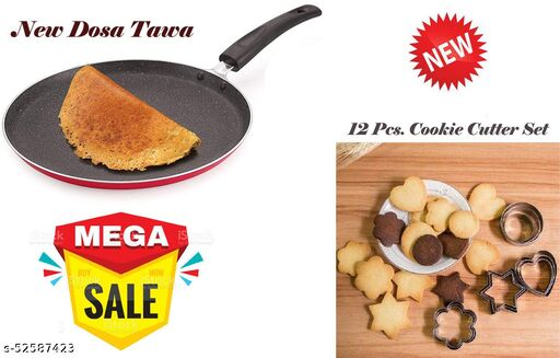 ARNAH TREASURE Kitchen Accessories Combo Set for Cooking Non Stick cookware Special Flat dosa tawa WITH 12 Pieces Cookie Cutter Set | 4 Different Shapes, 3 Sizes, Stainless Steel (Dosa Tawa + Cookies Cutter Set)