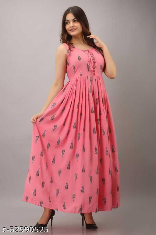 Women Rayon Printed Pink Long kurti Cum Gown