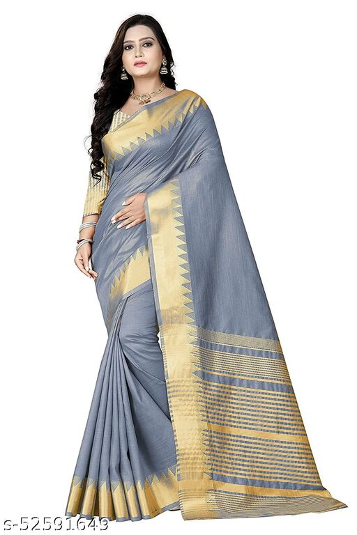 Women's Tant Silk Blend Saree With Running Blouse