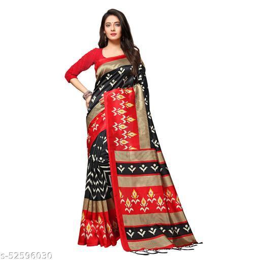 100 Dreams Beautiful ART SILK Print saree with blouse and Tassels