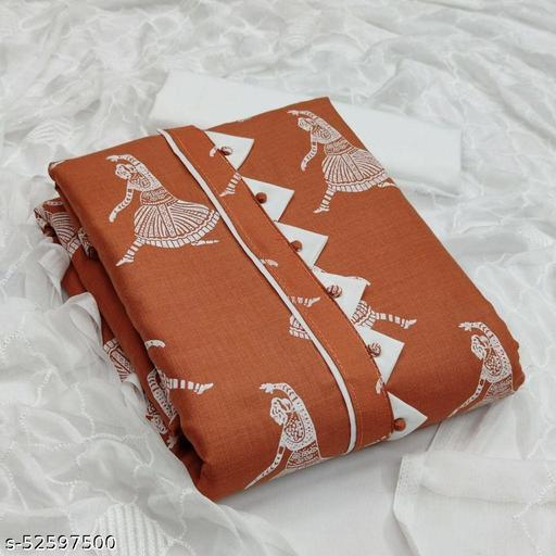 Peach Casual Wear Printed Cotton Dress Material