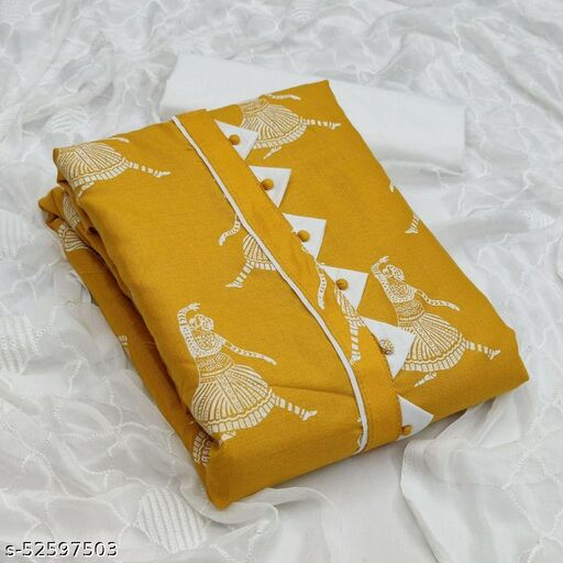 Mustard Casual Wear Printed Cotton Dress Material