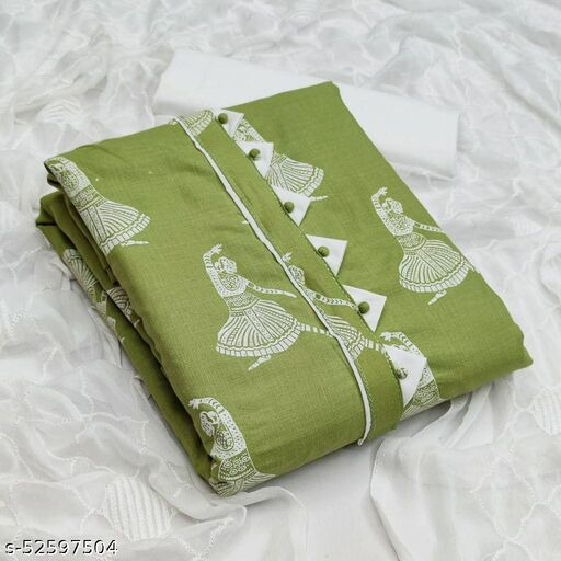 Green Casual Wear Printed Cotton Dress Material