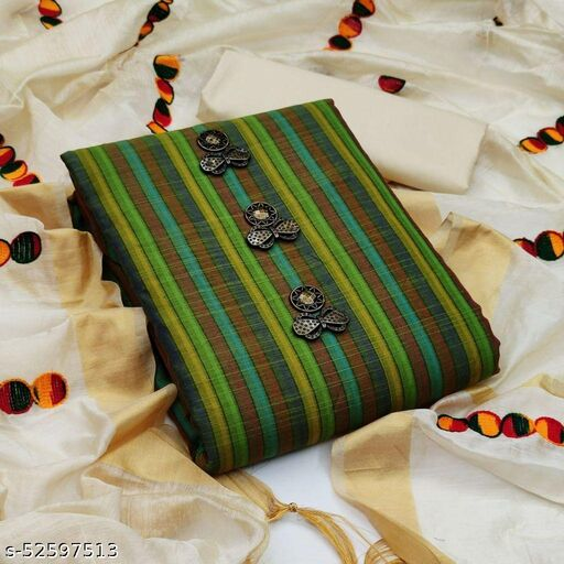 Green Casual Wear Stripes Cotton Dress Material