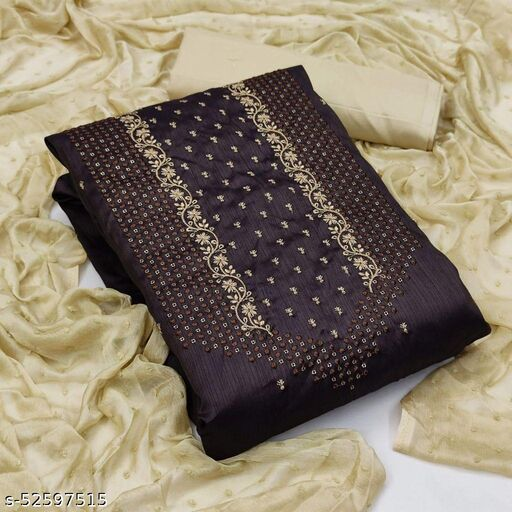 Brown Partywear Embroidered Silk Dress Material