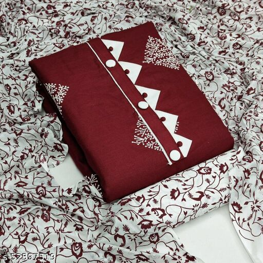 Red Casual Wear Printed Cotton Dress Material