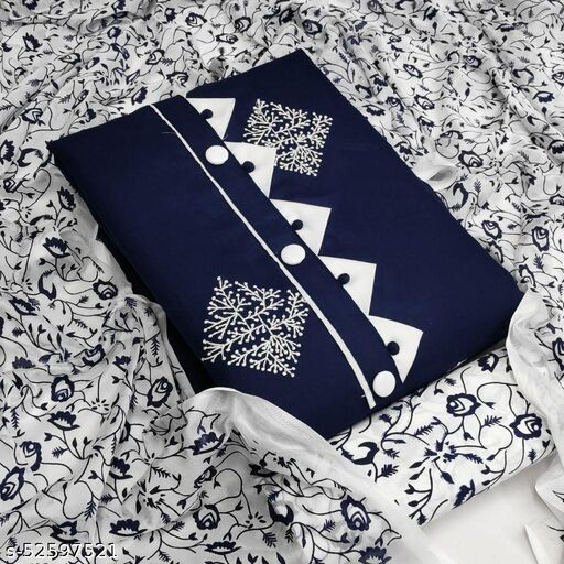 Navy Blue Casual Wear Printed Cotton Dress Material