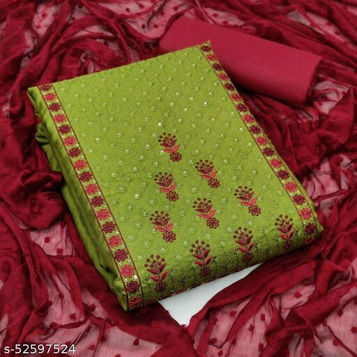 Green Casual Wear Embroidered Cotton Dress Material
