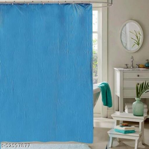 "CASA-NEST Stripe Design Waterproof Shower Curtain for Bathroom, 7 Feet PVC Curtain with 8 Hooks – 54""x 84"", Royal Blue Color"