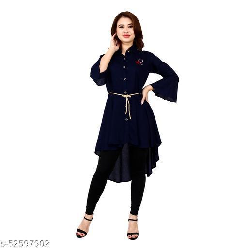 SAINATH TRADERS NAVY BLUE HIGH LOW DRESS