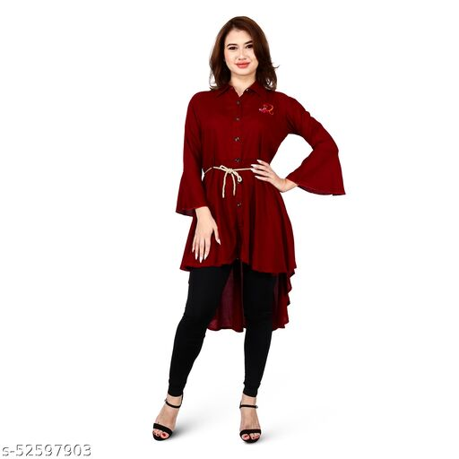 SAINATH TRADERS MAROON HIGH LOW DRESS