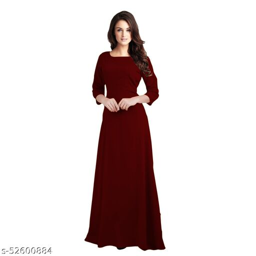 Manshav Women's Fit And Flare Fancy Western Cotton Gown