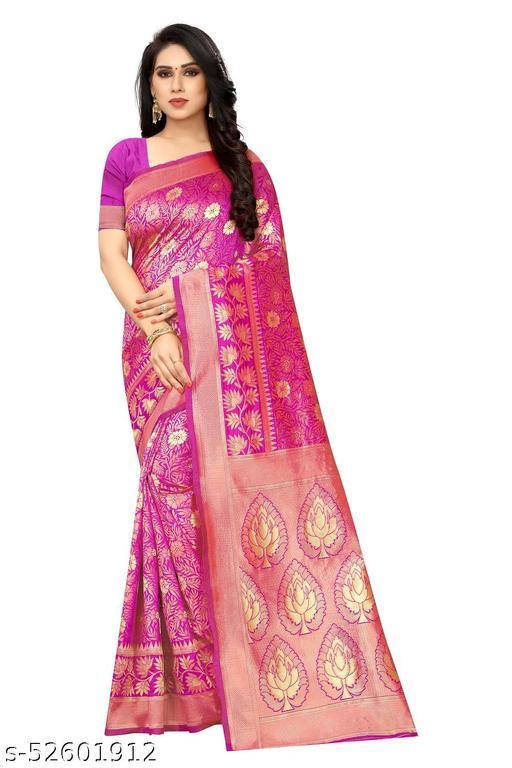 Jacqured Woven Kanjivaram Jacquard Silk Blend Saree