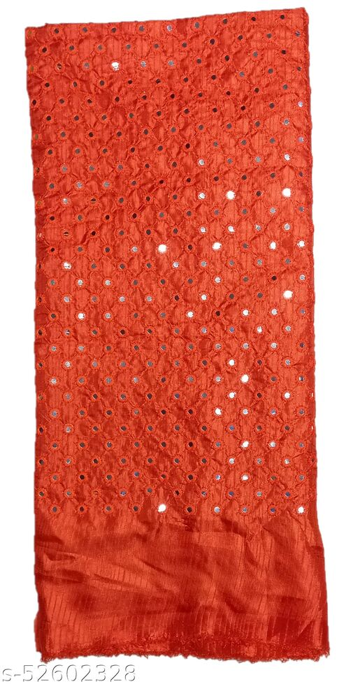 Stunning Collections Raw Silk with Mirror Work Unstitched Blouse Material for Women (1 Meter,Orange1)