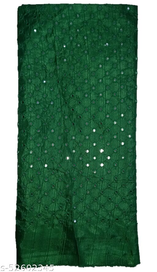 Stunning Collections Raw Silk with Mirror Work Unstitched Blouse Material for Women (1 Meter,Dark Green1)