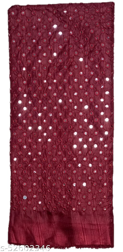 Stunning Collections Raw Silk with Mirror Work Unstitched Blouse Material for Women (1 Meter,Maroon)