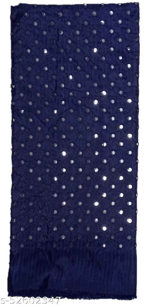 Stunning Collections Raw Silk with Mirror Work Unstitched Blouse Material for Women (1 Meter, Navy Blue)