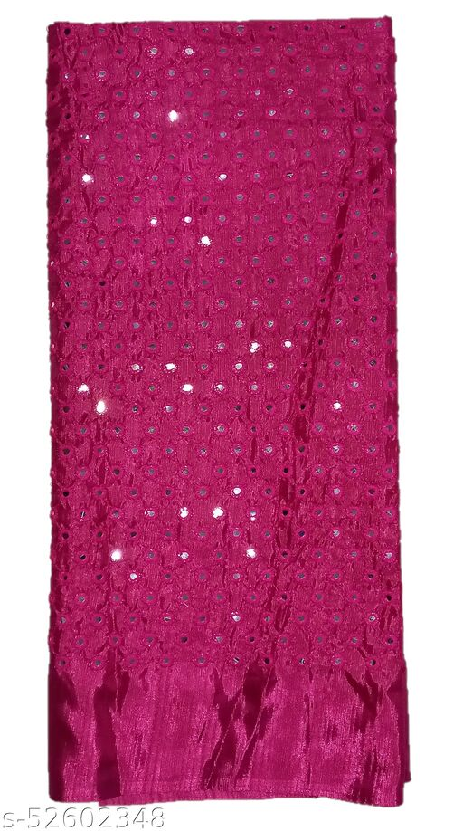 Stunning Collections Raw Silk with Mirror Work Unstitched Blouse Material for Women (1 Meter, Rani Pink)