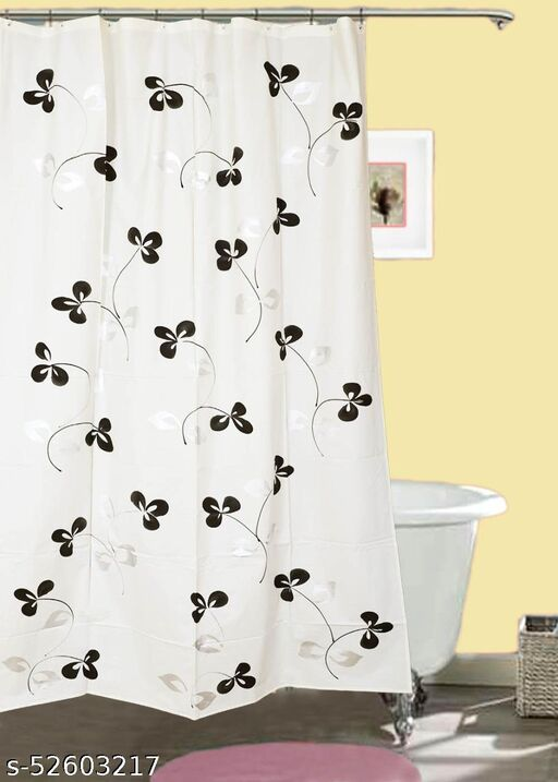 "CASA-NEST Brush Printing Design Waterproof Shower Curtain for Bathroom, 7 Feet PVC Curtain with 8 Hooks – 54""x 84"", Multicolour-3"