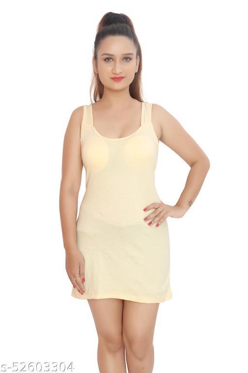 BODIBELLE Women's Cotton Sleeveless Camisole Lacey Slip