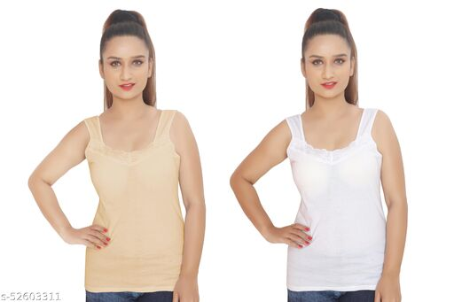 BODIBELLE Women's Cotton Sleeveless Camisole Lacey Slip Pack of 2