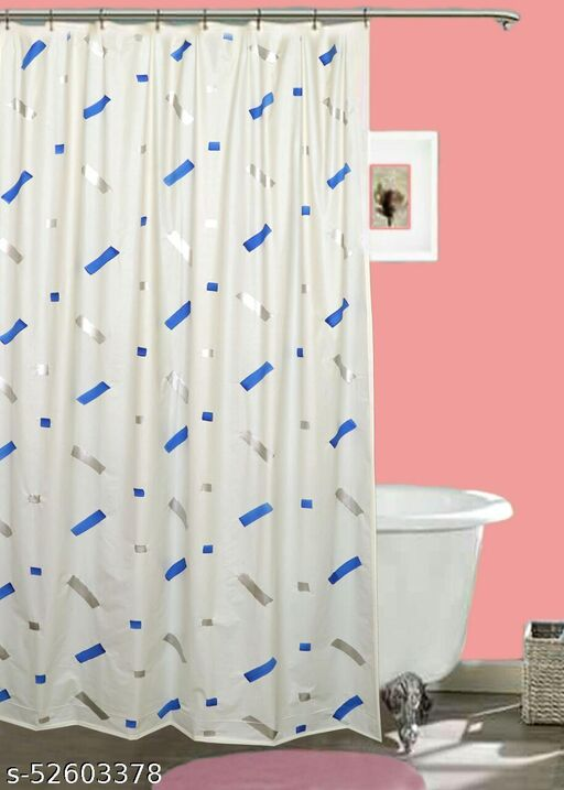 "CASA-NEST Brush Printing Design Waterproof Shower Curtain for Bathroom, 7 Feet PVC Curtain with 8 Hooks – 54""x 84"", Multicolour-6"