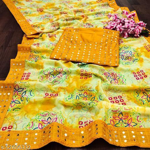 Pandadi Saree women's Georgette Bandhani printed saree With Mirror Work