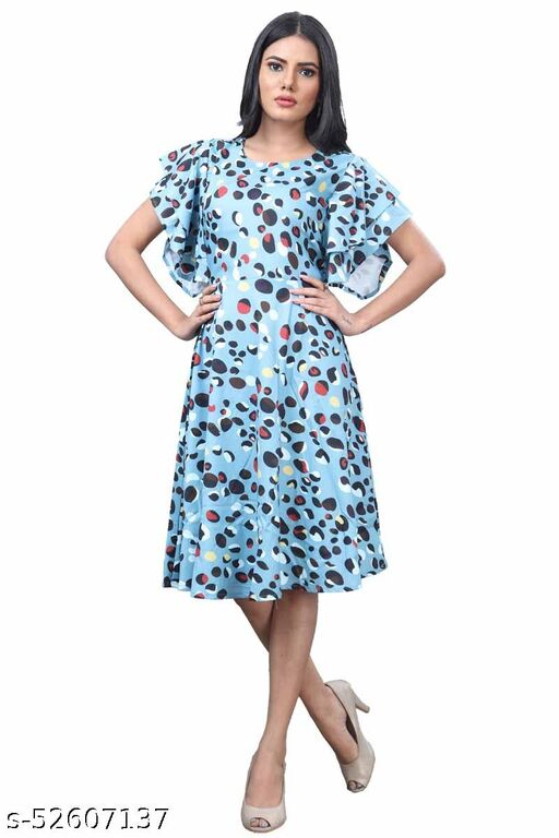 Manshav Women's Fit And Flare Fancy Cotton Western Midi Dress