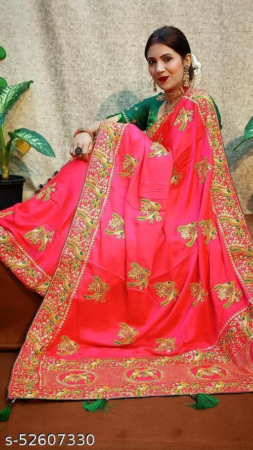 Embroidery Work and Diamond Saree