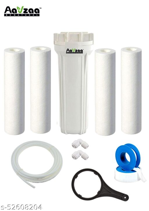 PRE FILTER HOUSING KIT WITH 1 WHITE BOWL, 4 PP SPUN, 1 SPANNER ,5 M WHITE PIPE,1 TEFLON, 2 ELBOW FOR RO WATER PURIFIERS SOLID FILTER CARTRIDGE