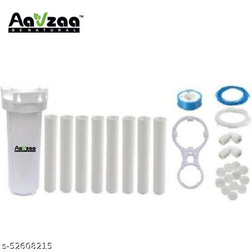 PRE FILTER HOUSING KIT WITH 8 PP SPUN,1 SPANNER, 3M WHITE AND BLUE PIPE,1 TEFLON TAPE,5 BALLS AND 2 ELBOW FOR RO WATER PURIFIERS SOLID FILTER CARTRIDGE