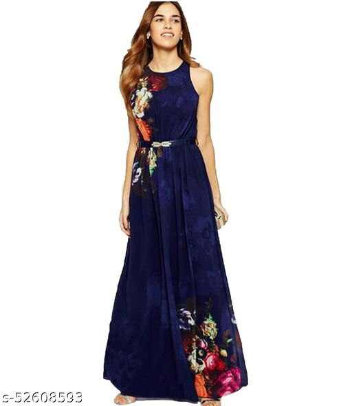 Manshav Women's Fit And Flare Fancy Western Maxi Gown Dress