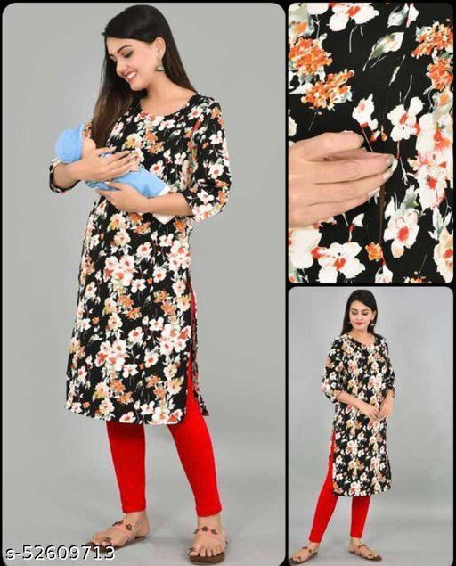 Elora Soft Crepe Floral Printed Designer Kurti For Women