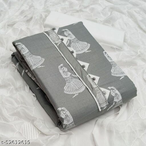 Grey Casual Wear Printed Cotton Dress Material