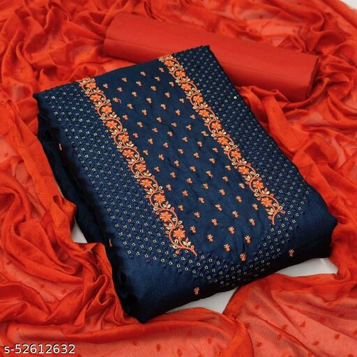 Navy Blue Partywear Embroidered Silk Dress Material