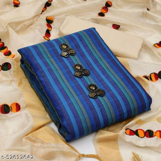 Blue Casual Wear Stripes Cotton Dress Material