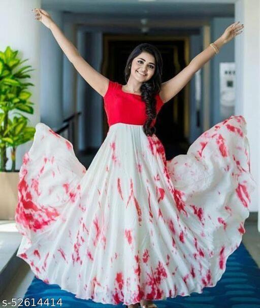 Red tie-dye long dress for women ehthnic wear