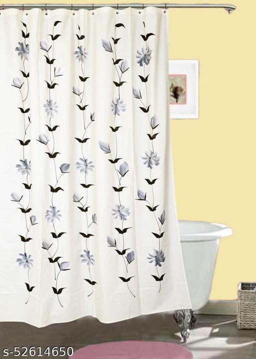 "CASA-NEST Brush Printing Design Waterproof Shower Curtain for Bathroom, 7 Feet PVC Curtain with 8 Hooks – 54""x 84"", Multicolour-1"