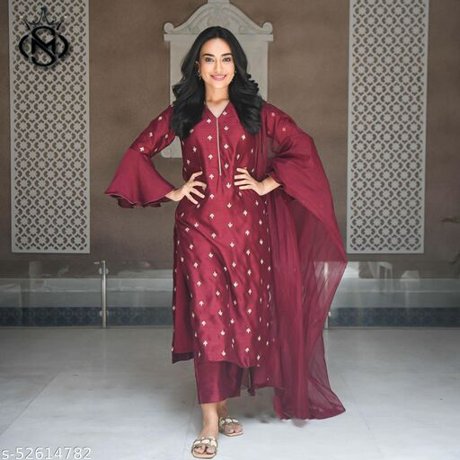 Attractive Maroon colored Embroidairy Work Party wear gown with botttom and dupatta